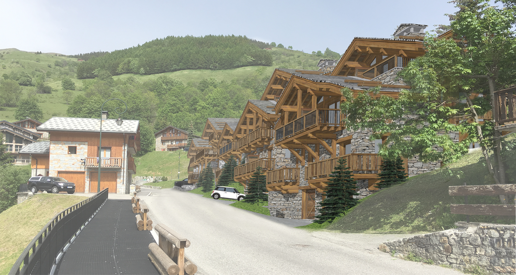Les Chalets de La Combe Insertion n°3 Vue Nord Ouest - Saint Martin de Belleville Savoie France